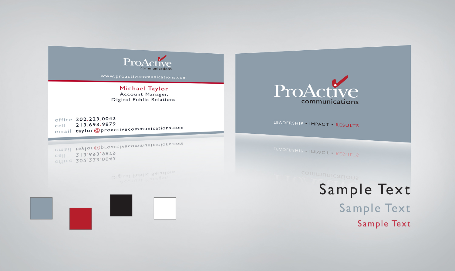 Communications Firm Business Card Design and Color Palette