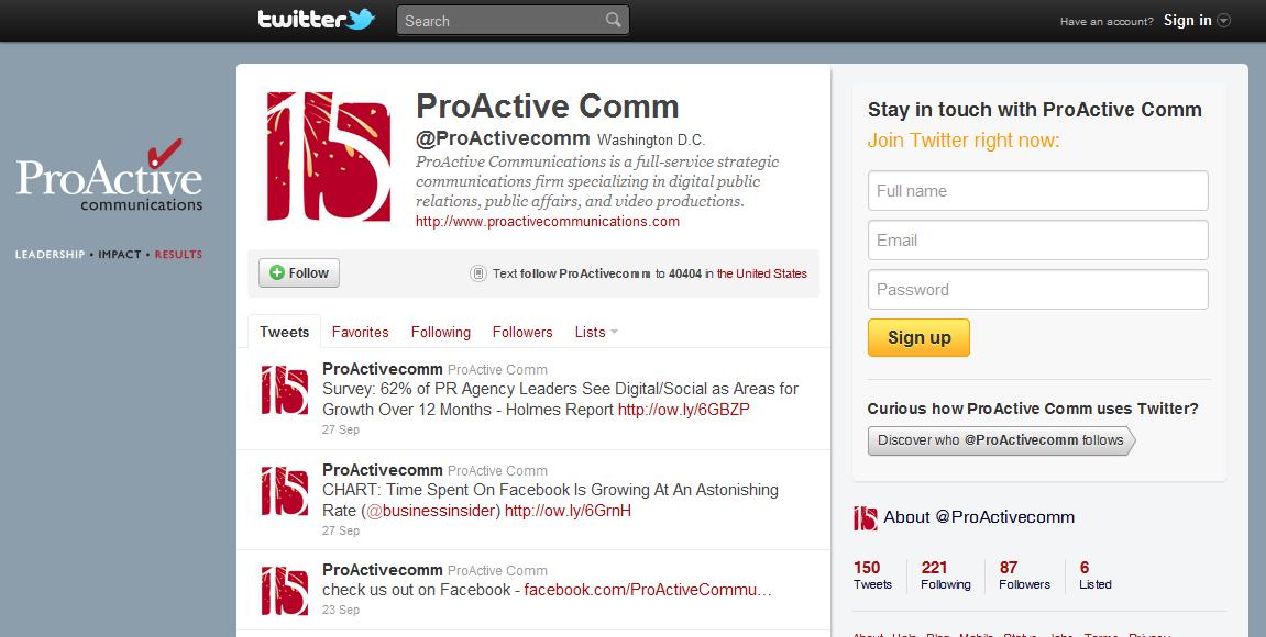 Custom Twitter Design for Communications Firm
