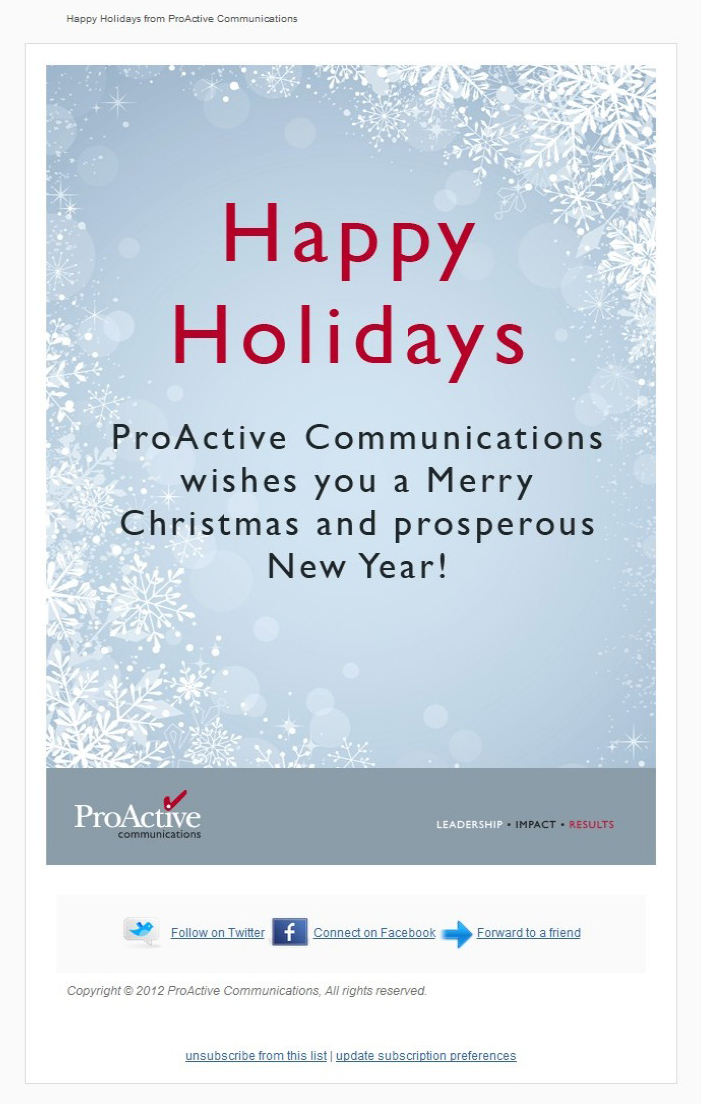 Communications Firm Holiday Email