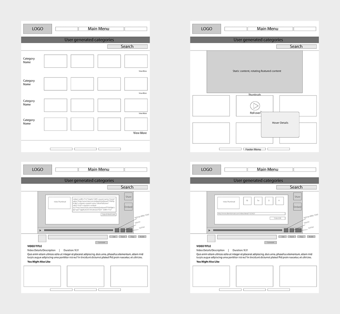 Video Website Design - Wireframes