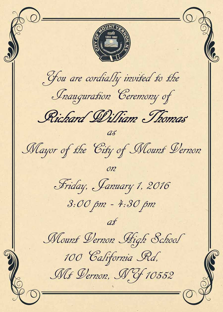 2016 Mayoral Inauguration Invitation