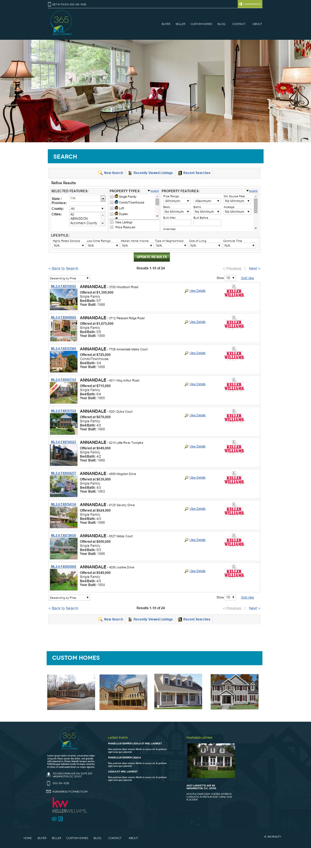Real Estate Company Website Mock - Search Results