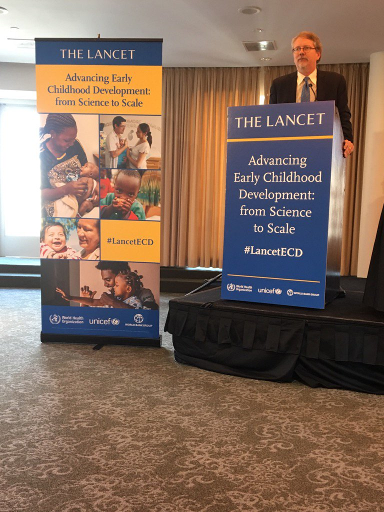 Photo of the quickscreen and podium sign for a Medical Journal's Early Childhood Development series launch