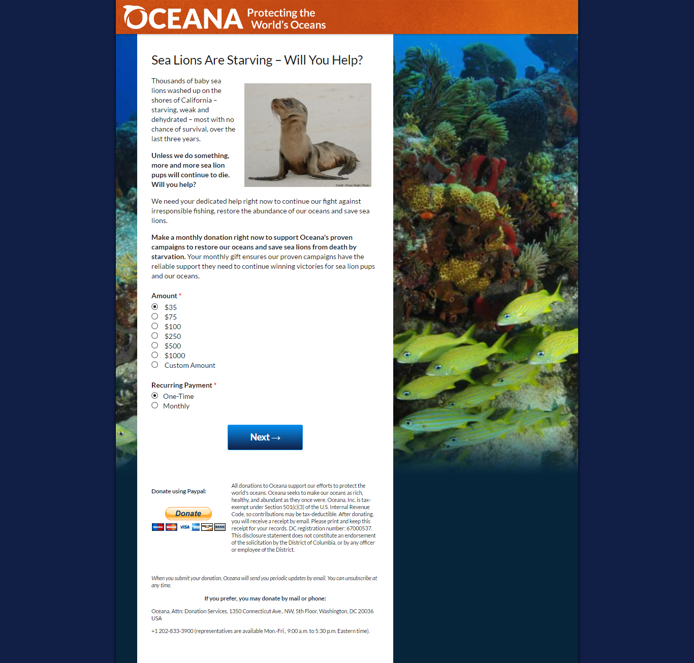 Ocean Conservation Donation Form