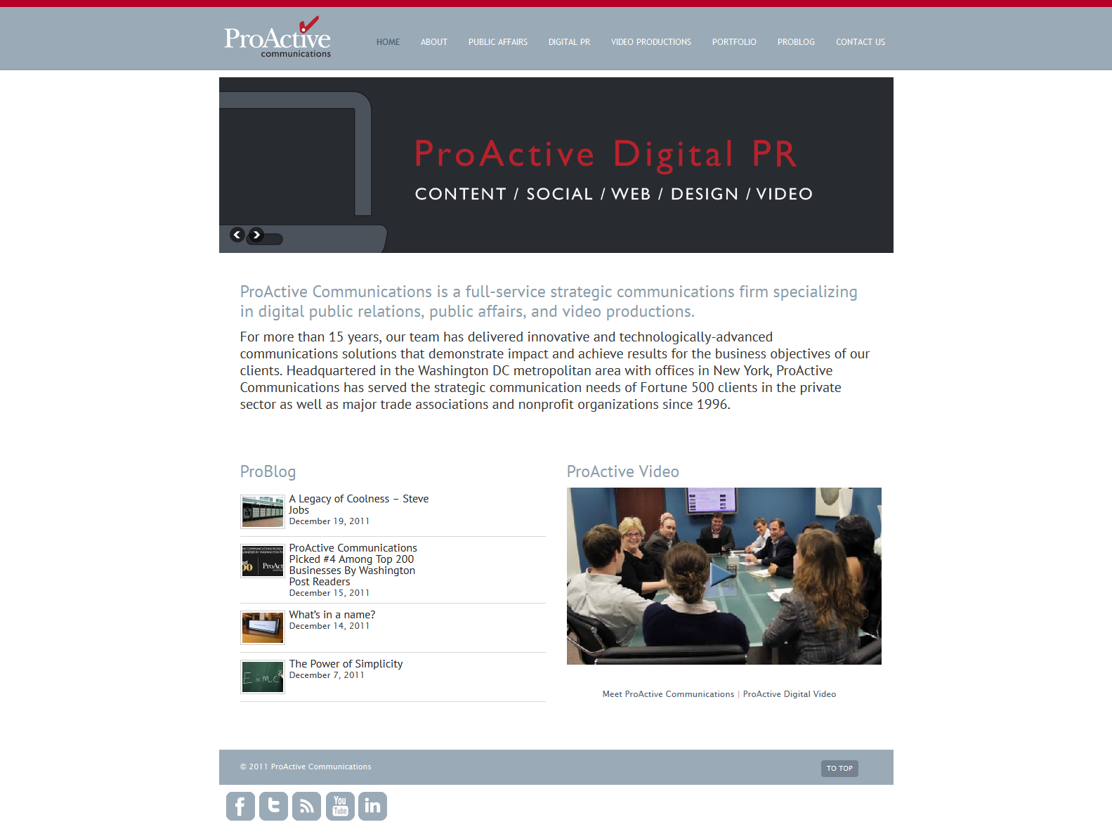 Websote Design for Communications Firm - Home