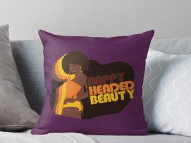 """""""Nappy Headed Beauty"""" Throw Pillows"""